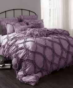 Take a look at this Purple Riviera Comforter Set by Lush Décor on #zulily today!