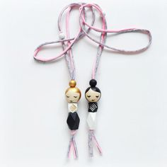 SLEEPY GEO MAMA Black or Gold hair - handpainted wooden bead necklace, mama doll necklace, topknot doll necklace, girls necklace Kids Necklace, Girls Necklaces, Beaded Necklace, Wooden Bead Necklaces, Wooden Beads, Homemade Necklaces, Pink Cheeks, Recycled T Shirts, Teething Necklace