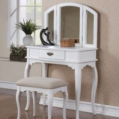 Create your female corner in your bedroom with this lovely and comfortable vanity set. The set includes vanity and stool. Vanity has a spacious drawer with antiqued bronze finish handle. Stool: x x H. White Vanity Set, White Makeup Vanity, Makeup Table Vanity, Vanity Set With Mirror, Vanity Stool, Vanity Tables, Makeup Tables, Makeup Stool, Makeup Desk