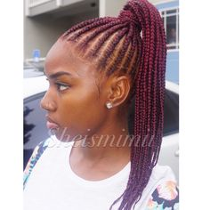 Feed in braids up into a ponytail! Protectivestyles, braids, feedin braids, ponytail, cornrows, red hair,