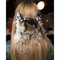 We're still dreaming about these hair accessories from the spring 2017 @rodarte show, crafted out of scraps of fabric by hairstylist @odilegilbert offical and her team. See more of our favorite #nyfw beauty looks on Bazaar.com right now. #style #shopping #model #swag