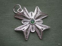 Handmade Sterling Silver Maltese Cross Filigree Pendant by TrulyFiligree