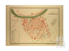 Map of Grenoble France Giclee Print at Art.com