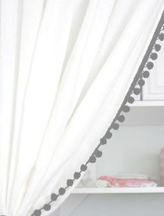 White with Black Pom Pom Trim Curtain panel,a classic curtain for any room in the house. Available in most colors for the pom trim and