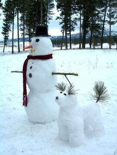 snow art snowman and snow dog Winter Fun, Winter Snow, Winter Time, Winter Christmas, Christmas Cards, Merry Christmas, Funny Christmas, Winter Ideas, Winter Months