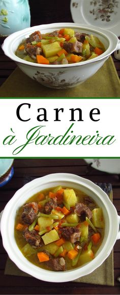 Carne à jardineira | Food From Portugal. Experimente esta receita típica Portuguesa de carne à jardineira, é muito saborosa e fácil de preparar. É perfeita para um almoço em família… #receita #carne