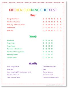 cleaning chart for adults