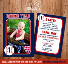 Printable Baseball Card Stats Birthday Photo Invitation Rookie Year Sports Card Boys First Birthday Party Idea FREE thank you card - Invitatioin Card - Ideas of Invitatioin Card - Printable Baseball Card Stats Birthday Photo Invitation Baseball First Birthday, Boys First Birthday Party Ideas, Sports Birthday, Sports Party, 1st Boy Birthday, Birthday Photos, Birthday Nails, Sports Day Invitation, Baseball Birthday Invitations
