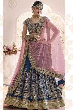 Expressive Designer Party Wear Crop Top Peach Floral Lehenga Choli Bollywood Wedding Lengha Women's Clothing