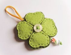 Felt clover ornament good luck gift idea by InspirationalGecko