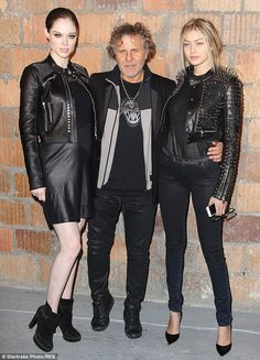 Back in black: Rocha with fellow model Gigi Hadid and designer Renzo Rosso...