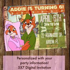 Robin Hood & Maid Marian - Disney 5X7 Printable / Digital Party Invitation (Birthday) - CUSTOMIZED by HattieMaeDesigns on Etsy