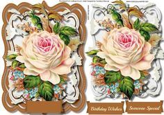Lovely Roses topper in a Ornate Frame  on Craftsuprint designed by Ceredwyn Macrae - A lovely topper with a lovely roses in a ornate frame a lovely card when done has two greeting tags and a blank one for you to choose the sentiment,  - Now available for download!