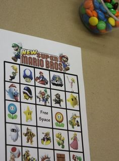 super mario bingo, wish I had this 6 months ago when I did Dax's super mario party.