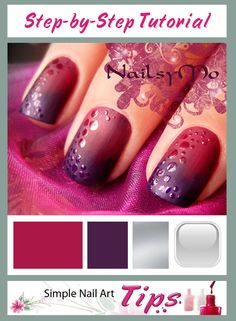 TUTORIAL: Dotted Matte Gradient Nail Art step-by-step tutorial by www.SimpleNailArtTips.com #nails #nailart #manicure