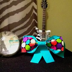 Polka dot and teal duct tape bow! :)