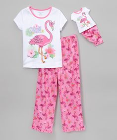 Look what I found on #zulily! Komar Kids Flamingo Pajama Set & Doll Outfit - Girls by Komar Kids #zulilyfinds