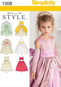 Cinderella Dress for Little Girls, Dress Pattern Girls, Flower Girl Dress, Pageant Dress, Formal Dress, Girls Gauntlets, New Simplicity 1508 by YourSewingBasket on Etsy https://www.etsy.com/listing/224311656/cinderella-dress-for-little-girls-dress