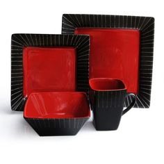 American Atelier Stonegate Red 16-pc. Square Dinnerware Set found on Polyvore