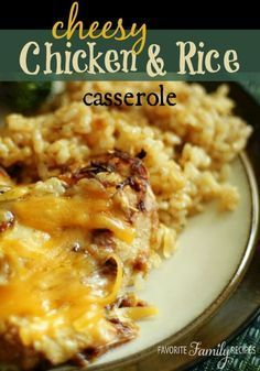 Cheesy Chicken and Rice Casserole is an easy chicken recipe for a busy day. It takes only a few minutes to prepare and then goes in the oven for an hour and half so you can get other things done.