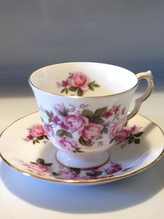 Vintage Queen Anne England Bone China Teacup and Saucer Set Pink Rose Floral A 67 7 Pat no 85