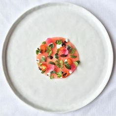 Watermelon, whipped feta, pickled rind, micro greens, and chili by @chefnk #TheArtOfPlating