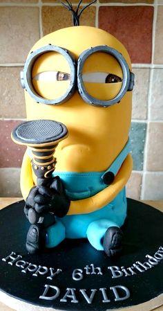 Minion Cake ~ Kevin holding a fart gun