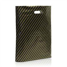 Kunststofftragetaschen schwarz-gold gestreift