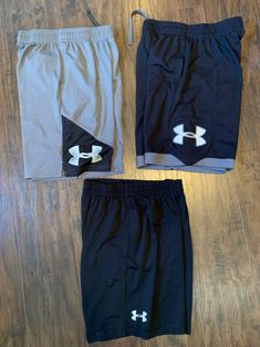 Under Armour shorts Youth large 4 pair Good condition- my son didn't wear these but a couple times. From clean, smoke free home Fitness Wear, Sport Shorts, Workout Wear, Clothing Ideas, Flat Lay, Under Armour, Underwear, Men's Fashion, Youth