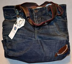 BROWNIE bag made from men's denim jeans. by byLaRosette on Etsy