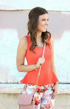 coral peplum top from Molly Suzanne
