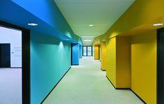 Bailly School Complex by Mikou Design Studio — Saint-Denis, France (via Flavorwire) School Hallways, School Murals, Colour Architecture, School Architecture, Public School, Pre School, School Fun, Primary School, Kindergarten Design