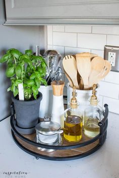 Home Decor Inspiration Kitchen and Dining Room Spring Tour with Decorated Tray with Herbs.Home Decor Inspiration Kitchen and Dining Room Spring Tour with Decorated Tray with Herbs Home Decor Kitchen, Home Kitchens, Kitchen Dining, Diy Home Decor, Decorating Kitchen, Kitchen Tray, Room Kitchen, Kitchen Cabinets, Kitchen Island Decor