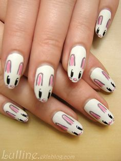 DIY Nail Art; Cute Bunnies Heads Up! •°•°Nail Art Lieve Konijnen Hoofdjes.•°•°Vernis et Nail Art - Lapins de pâques