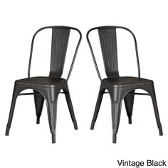 AC Pacific Black Metal Dining/ Kitchen Chair (Set of 2) (