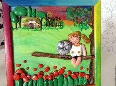 Люди, ручной работы. Ярмарка Мастеров - ручная работа. Купить картина из морской гальки Девочка и совенок. Handmade. Мятный