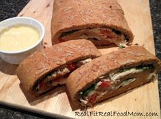 Chicken & Spinach Stromboli with Alfredo Dipping Sauce from Real Fit Real Food Mom