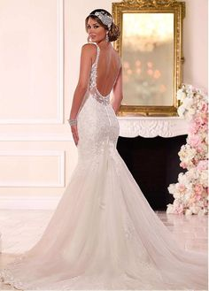 Buy discount Alluring Tulle Spaghetti Straps Neckline Mermaid Wedding Dresses with Sequin Lace Appliques at Dressilyme.com