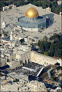 Ariel view of Temple Mount, or Haran al-Sharif, and the Western Wall