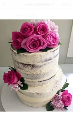 #cake #engaged #engagement #icing #pink #flowers #floral #nakedcake #buttercream #bride #groom #married #marriage #engagementcake #celebrate
