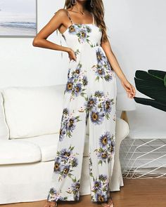 Dresses – Page 6 – narachic Long Romper, Sunflower Print, Casual Jumpsuit, Floral, Leggings, Womens Fashion Online, Elegant Woman, Jumpsuits For Women, Types Of Sleeves