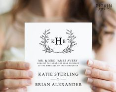 Wedding Invitation Template | Digital Download for Word | Floral Wreath Invitation | Fully Customizable | Free RSVP Template