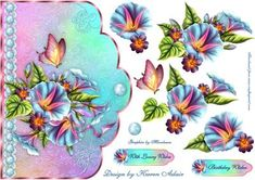 Morning Glory Scallop Edge Card Front with Step by Step on Craftsuprint designed by Karen Adair - This is a scallop edged card front, and features stunning graphics of Morning Glories and a lovely butterfly. Decoupage and matching sentiment tags are also included. If you like this check out my other designs, just click on my name. - Now available for download!