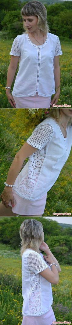 Blusa com aplicação de crochê