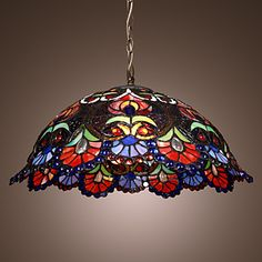Tiffany Pendant Light with 2 Light in Artistic Patterned Shade - GBP £ 132.05