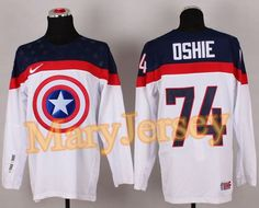 """$34.88 per one, welcome email """"MaryJersey"""" at maryjerseyelway@gmail.com for Olympic Team USA 74 T. J. Oshie White Captain America Fashion Stitched NHL Jersey"""