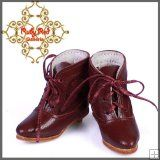 EH0032B Burgundy Leather & Lace Boots