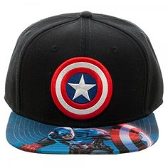 68a1813f674 BIOWORLD Marvel Captain America Sublimated Bill Snapback Cap Black     Details can be found by clicking on the image.