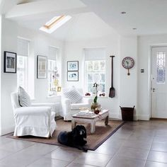 Weiß Offenes Wohnzimmer