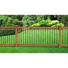 4.5 ft. x 6 ft. Pressure-Treated Cedar-Tone with Aluminum Pickets Pool Fence Kit, 188511 at The Home Depot - Mobile